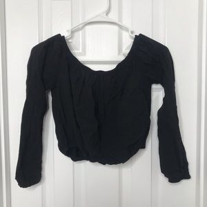 Windsor Black Off Shoulder Cropped Shirt